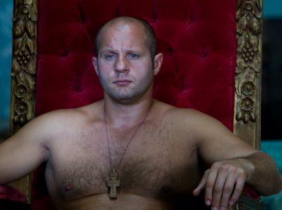 Fedor Emelianenko sitting on the throne