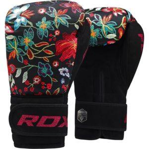 Dámske boxerské rukavice čierne s kvetmi